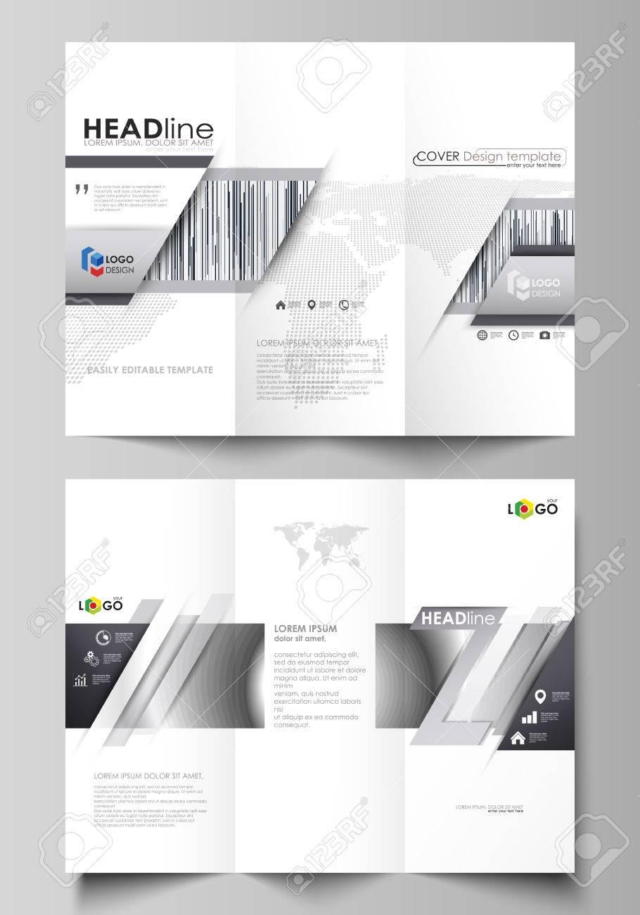 a77d4ec6a23f8 Foto de archivo - Plantillas de negocios tríptico folleto en ambos lados.  Diseño vectorial abstracto editable fácil en diseño plano. Patrón geométrico  ...