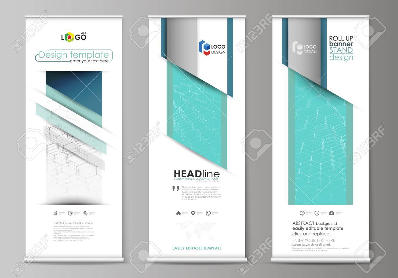 roll up banner stands abstract geometric design corporate vertical