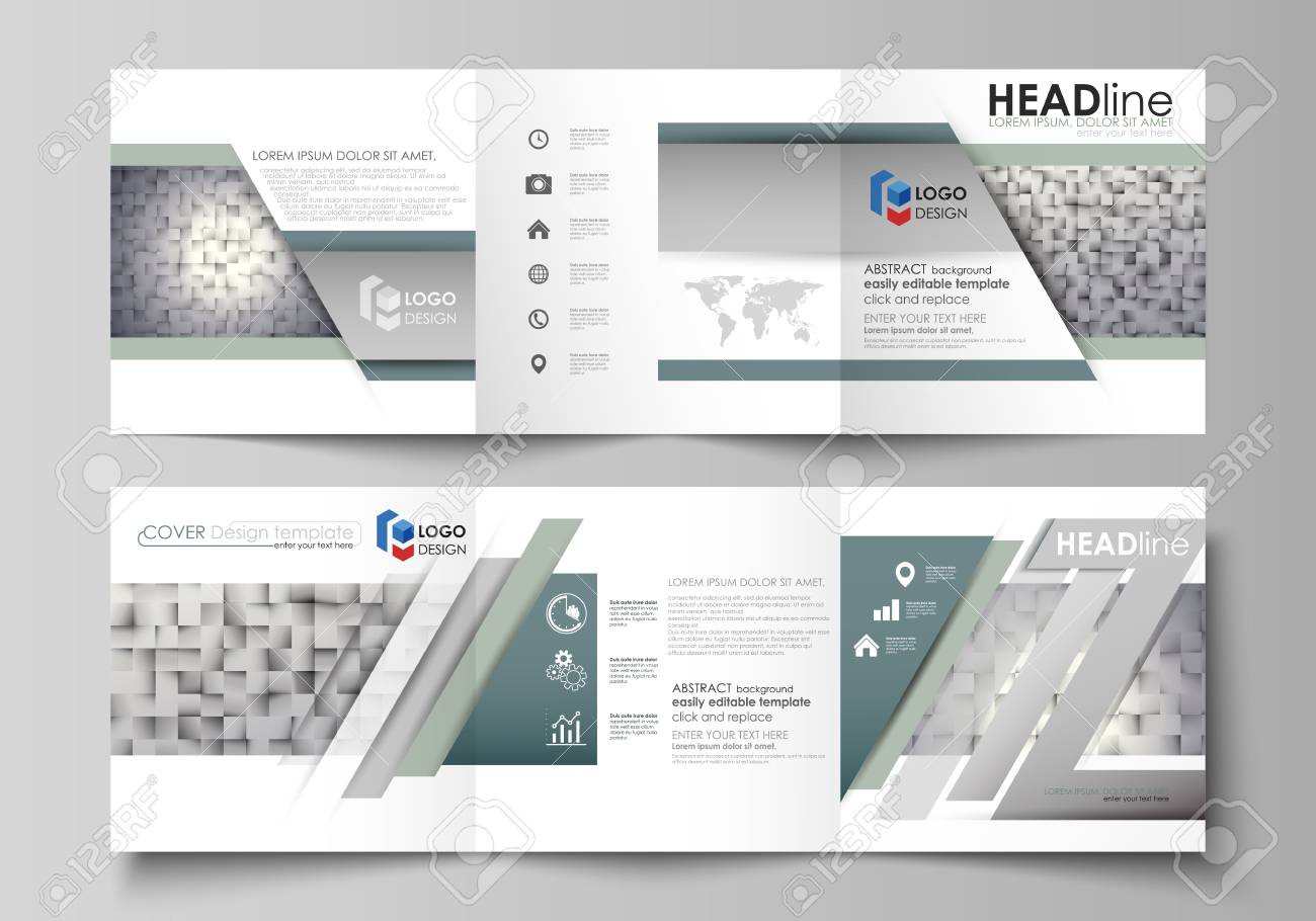 Pattern made from squares, gray background in geometrical style. Simple texture. Set of business templates for tri fold square design brochures. Leaflet cover, abstract layout, easy editable vector. - 81581996