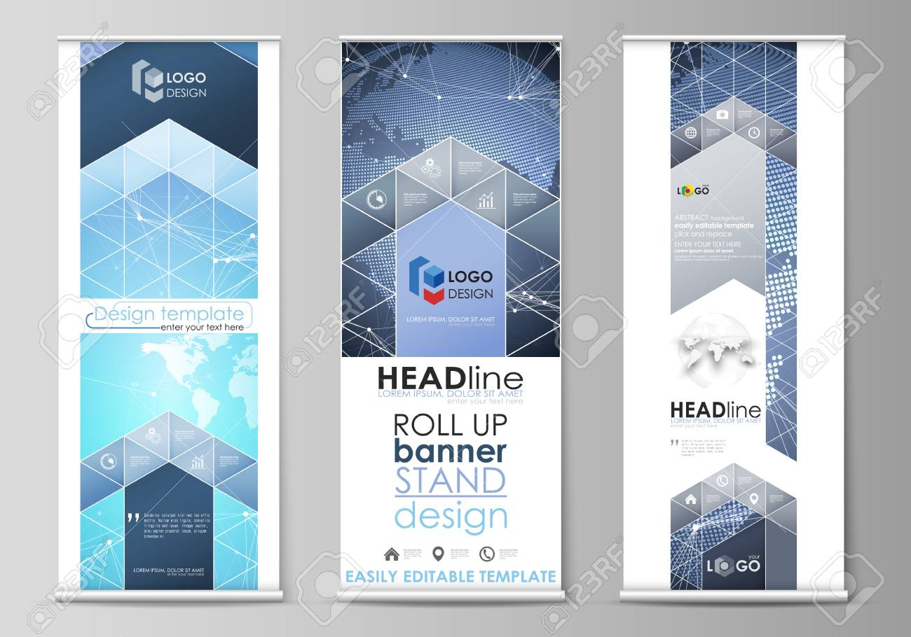 the minimalistic vector illustration of the editable layout of roll up banner stands vertical flyers