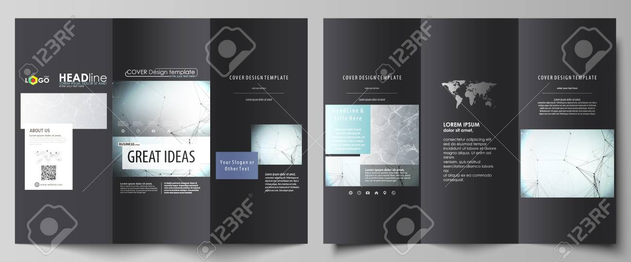 Tri Fold Brochure Business Templates On Both Sides Abstract Vector Layout In Flat Design