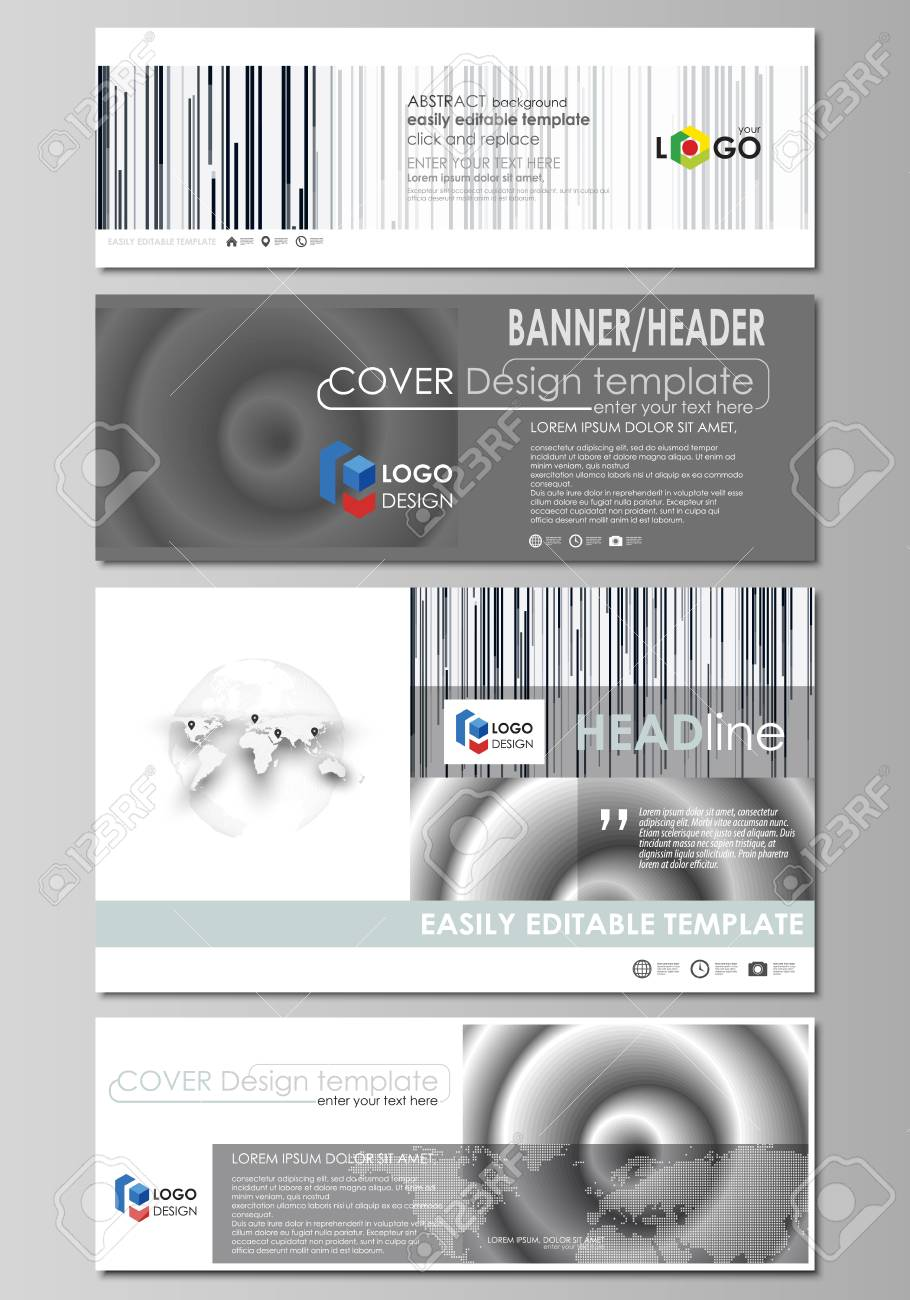 Social Media And Email Headers Set, Modern Banners. Abstract.. Stock ...