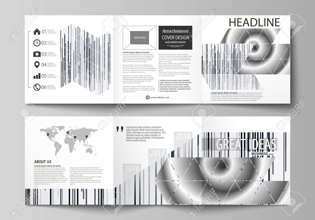 set of business templates for tri fold square design brochures