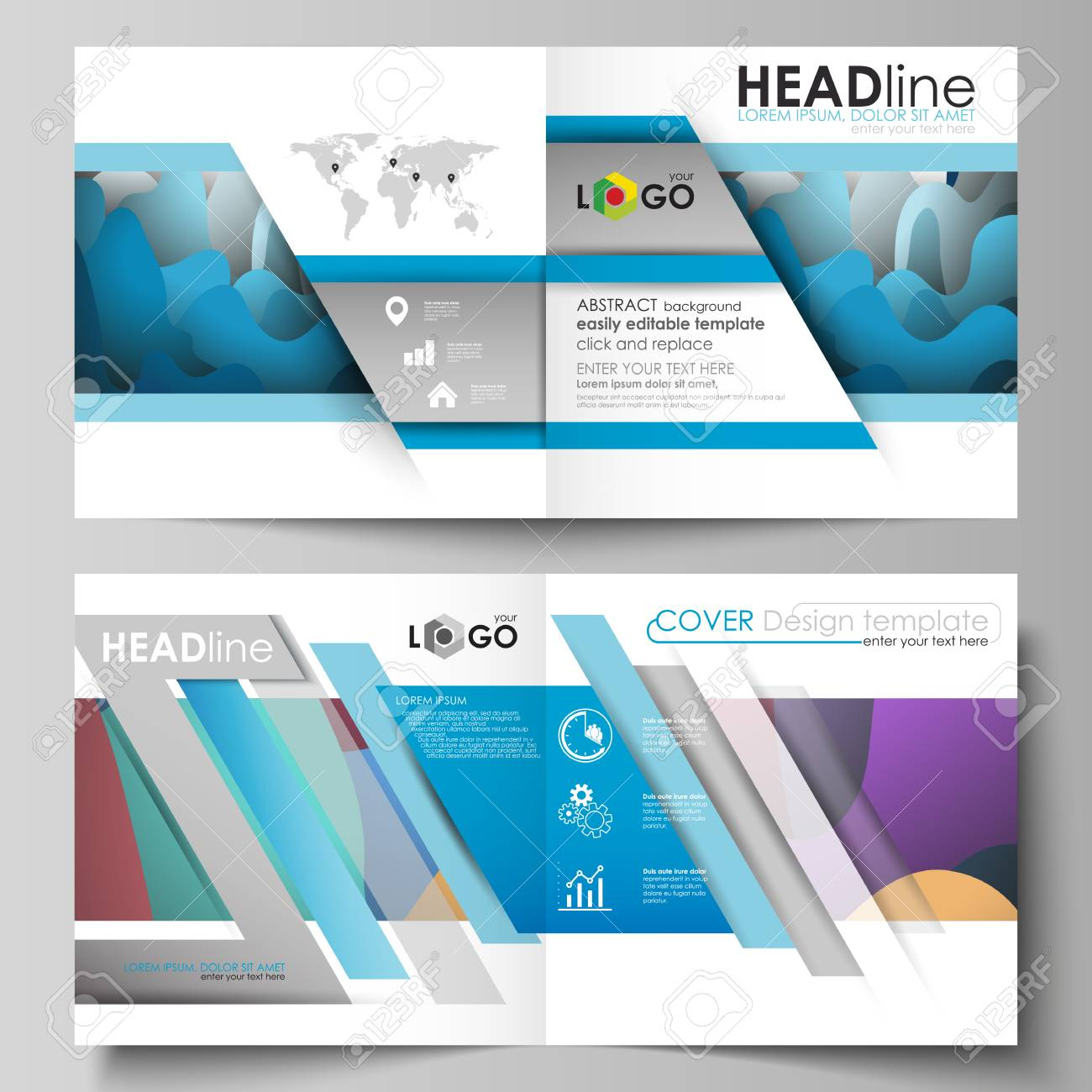 business templates for square design bi fold brochure magazine