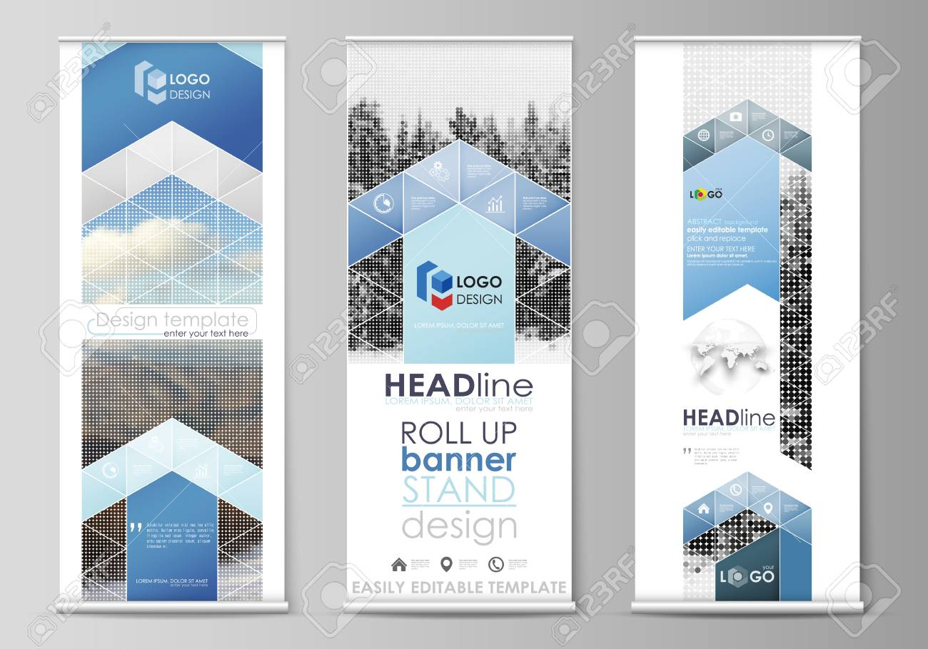Set Of Roll Up Banner Stands Flat Design Templates Abstract