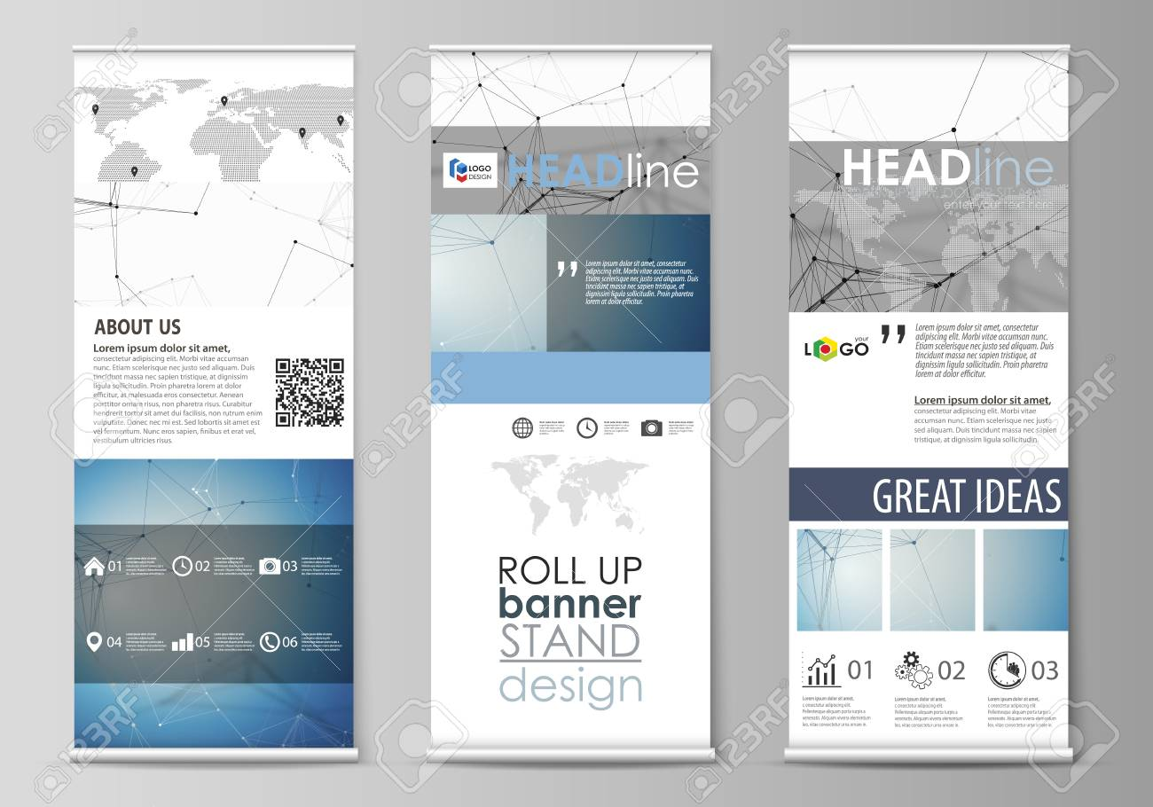 Set of roll up banner stands, flat design templates, abstract geometric style, modern business concept, corporate vertical vector flyers, flag layouts. Geometric blue color background, molecule structure, science concept. Connected lines and dots. - 126339829