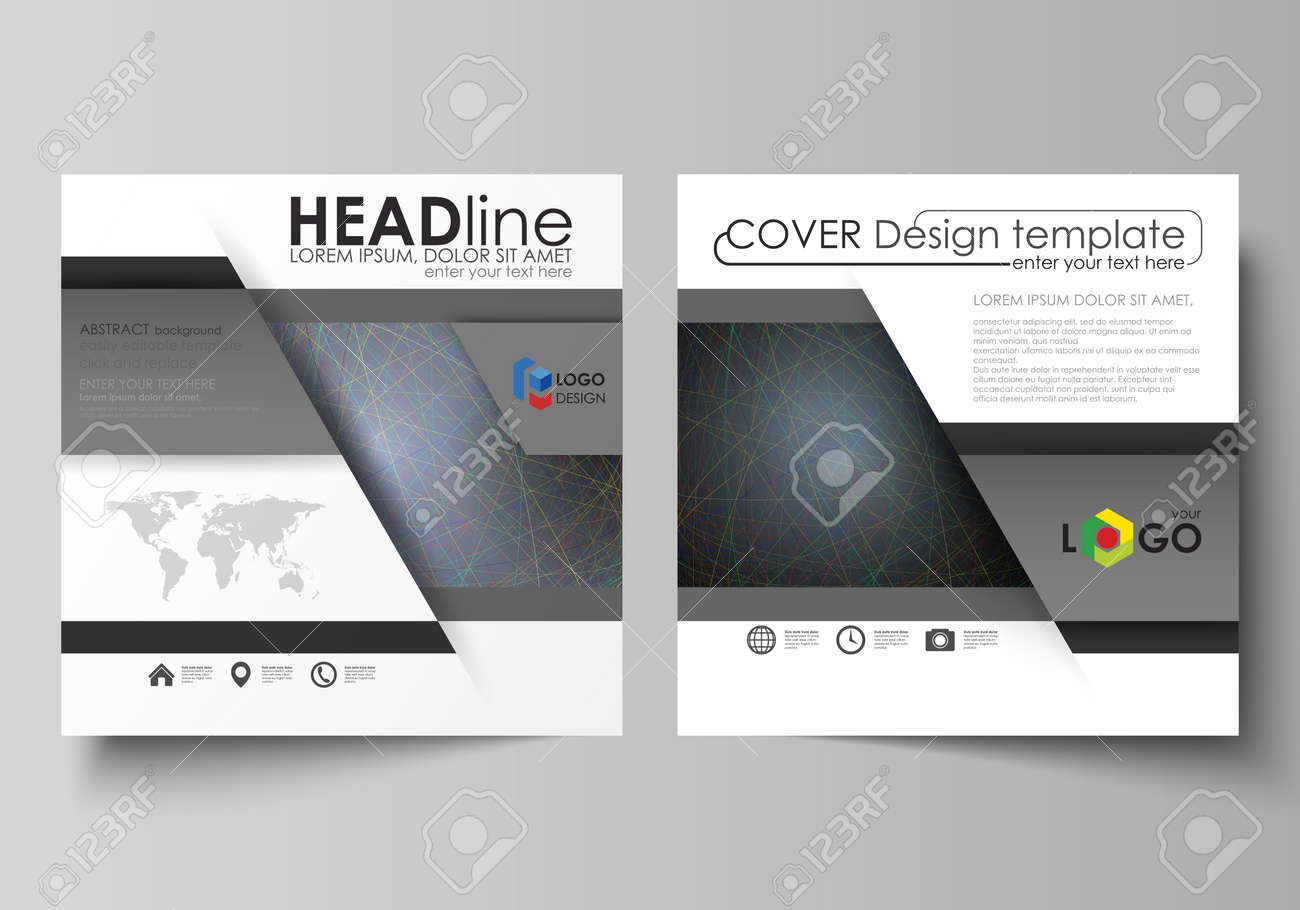 Business templates for square design brochure, magazine, flyer, booklet or annual report. Leaflet cover, abstract flat layout, easy editable vector. Colorful dark background with abstract lines. Bright color chaotic, random, messy curves. Colourful vector decoration. - 125692379