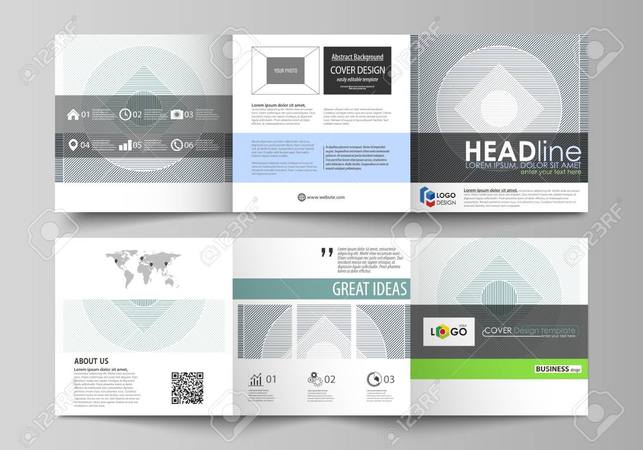 Set of business templates for tri fold square design brochures. Leaflet cover, abstract flat layout, easy editable vector. Minimalistic background with lines. Gray color geometric shapes forming simple beautiful pattern. - 125106546