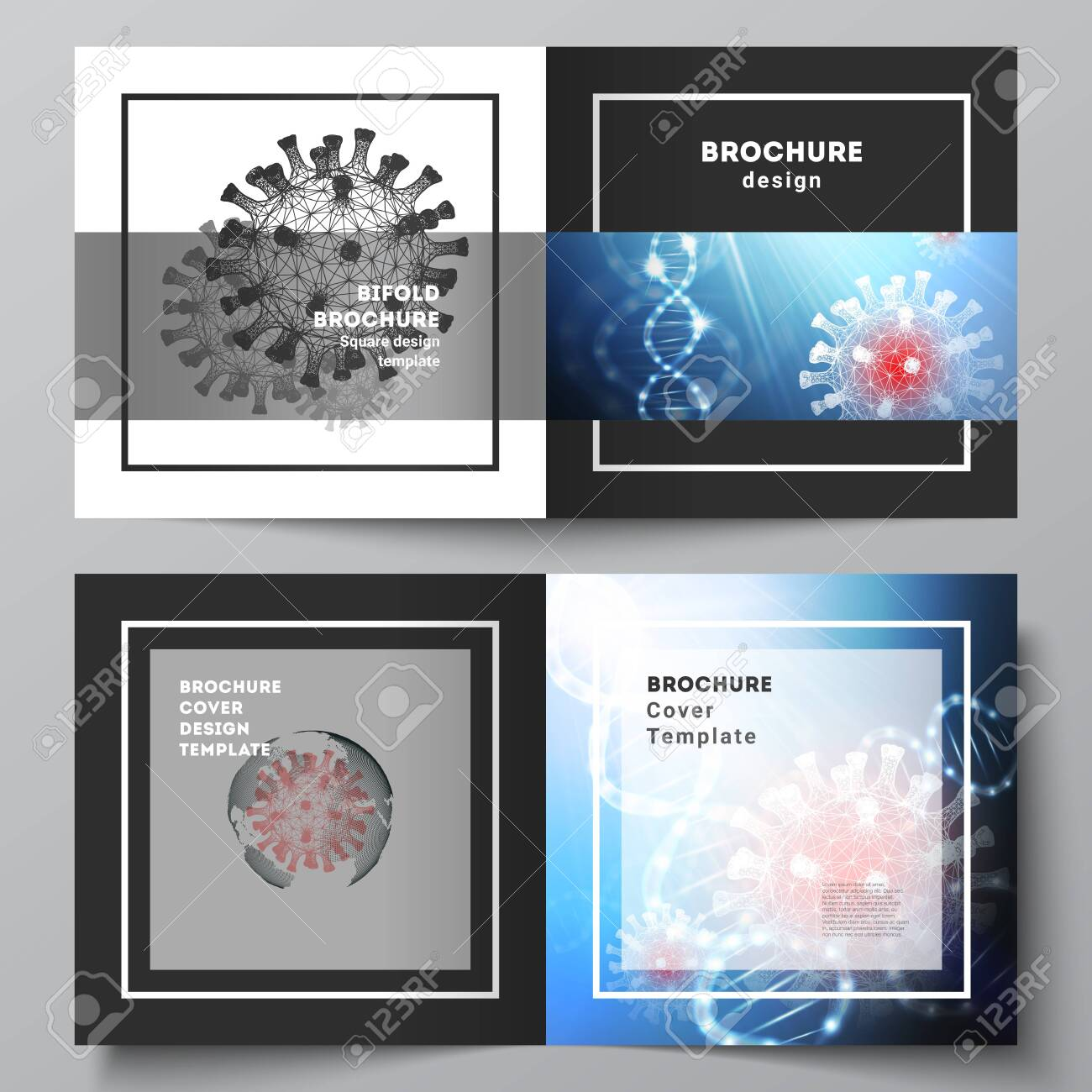 Vector layout of two cover templates for square bifold brochure, flyer, cover design, book design, brochure cover. 3d medical background of corona virus. Covid 19, coronavirus infection. Virus concept - 145531639