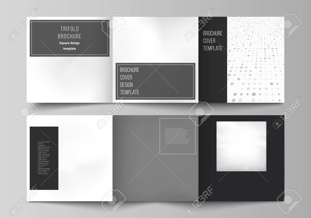 Vector layout of square covers design templates for trifold brochure, flyer, cover design, book design, brochure cover. Halftone effect decoration with dots. Dotted pattern for grunge style decoration. - 146093682
