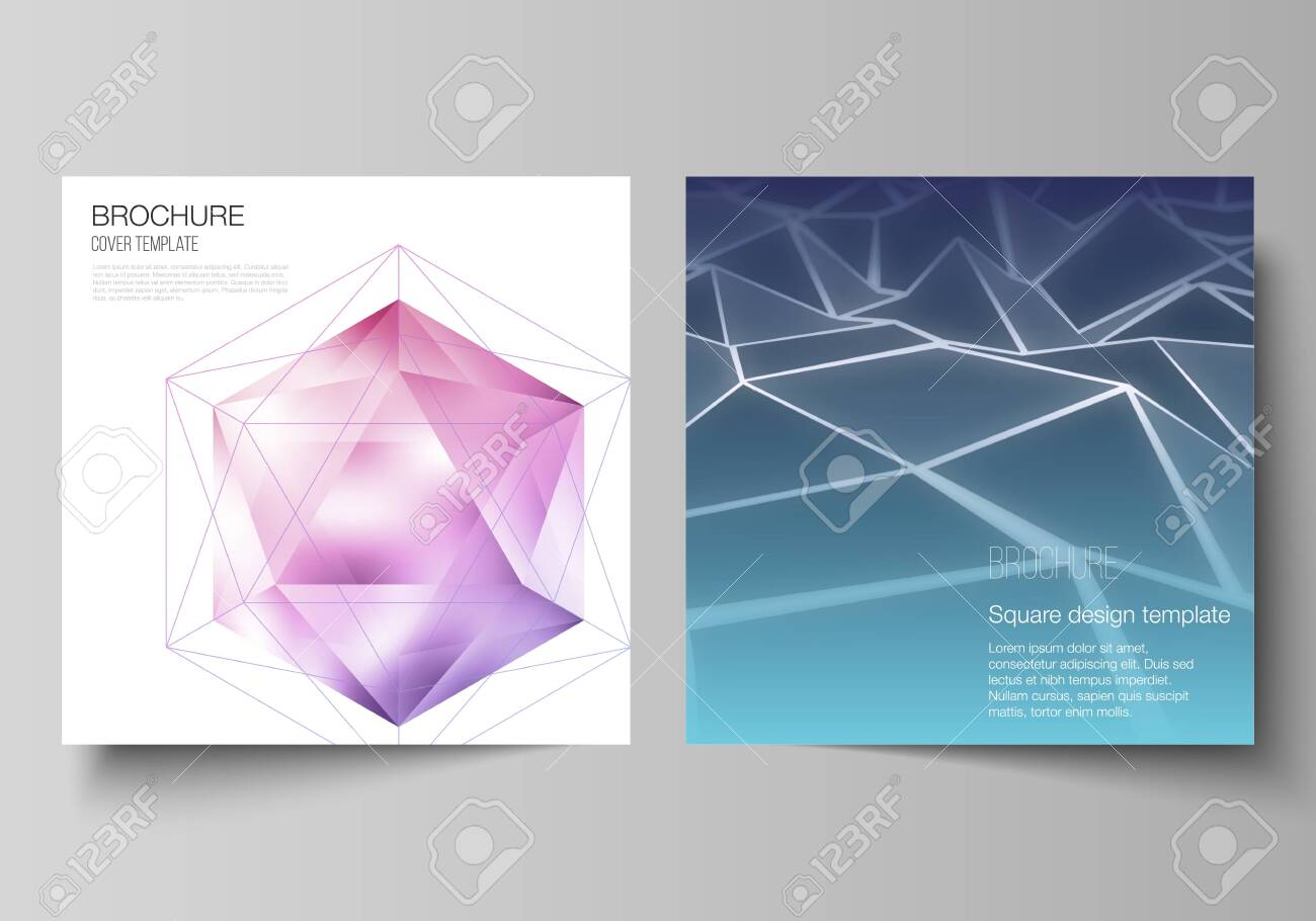 Minimal vector layout of two square format covers design templates for brochure, flyer, magazine. 3d polygonal geometric modern design abstract background. Science or technology vector illustration. - 147080978