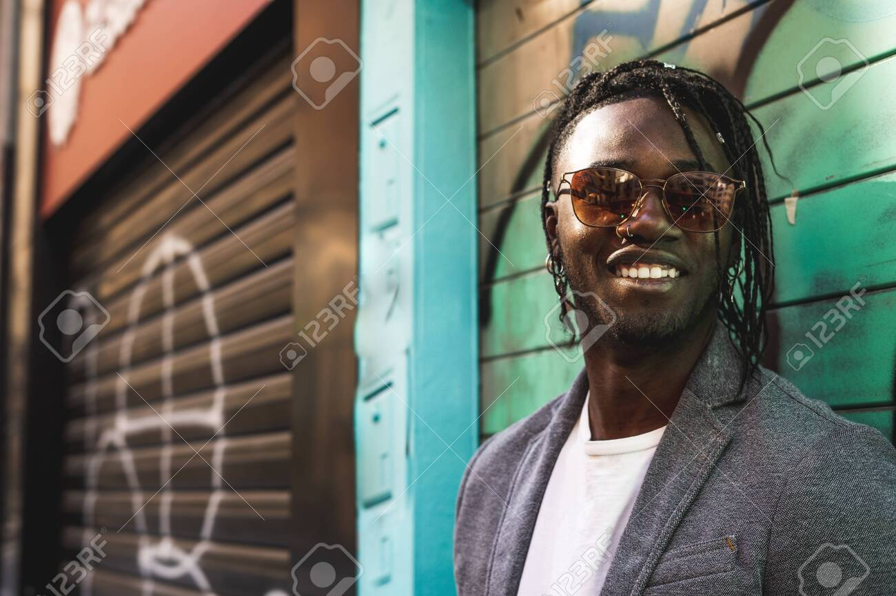 Guy Sunglasses With Of Black Smiling Portrait Handsome african rCoedxBQWE