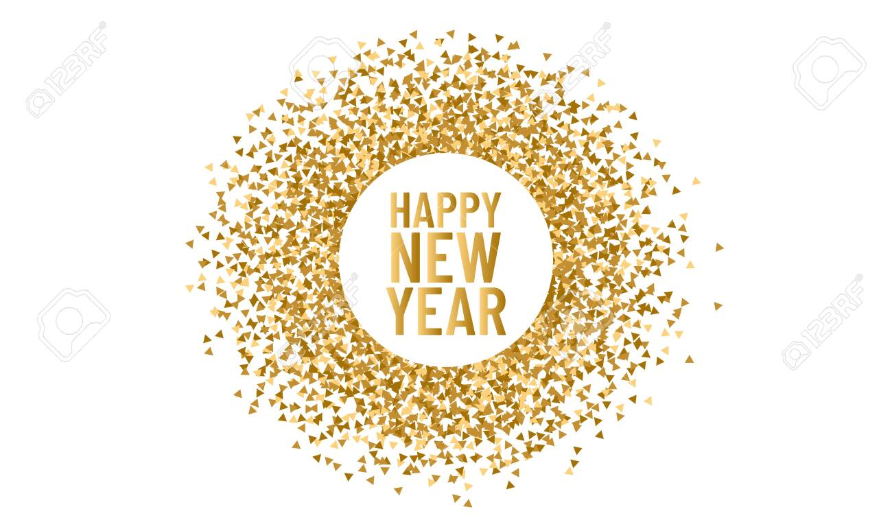 Happy new year. Christmas round frame for copy space 2020. Vector triangle sparkle and glitter background - 146784604