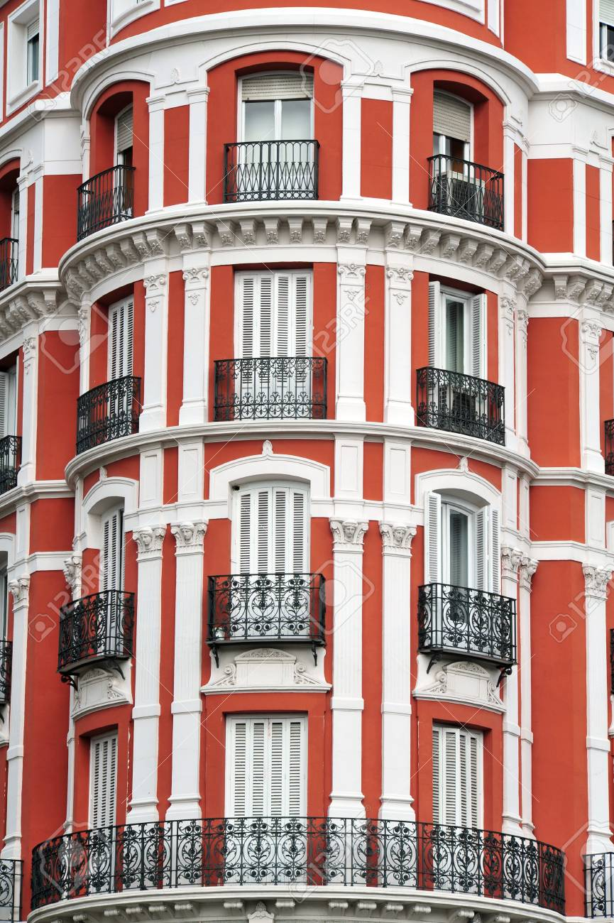 A Red And White Apartment Building In Madrid City Spain Stock Photo    40906107