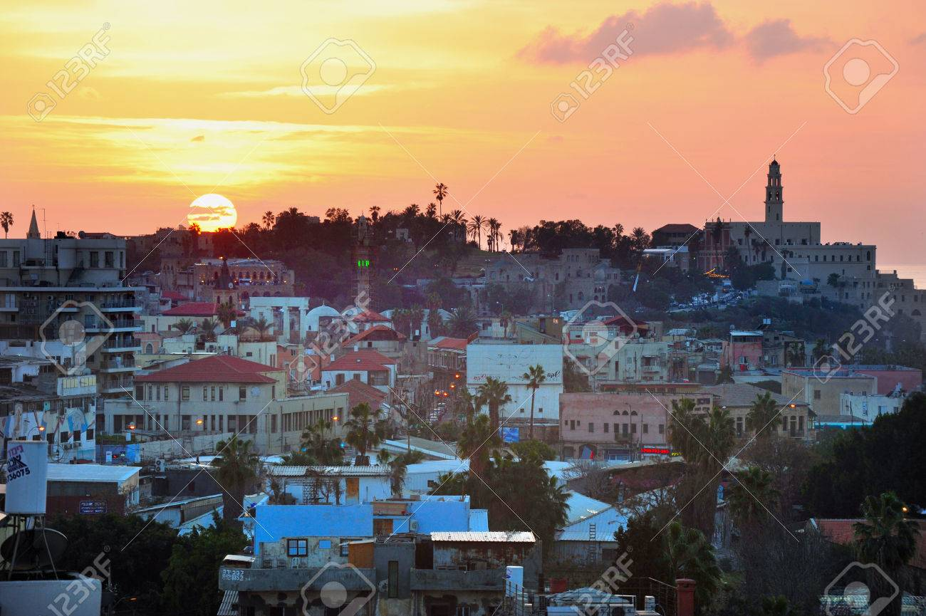 jaffa skyline during sunset in tel aviv jaffa port israel stock