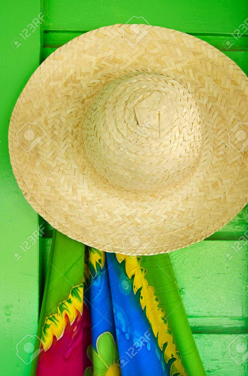 6a3f4bfd Stock Photo - Straw hats for sale in a tropical souvenir shop in Aitutaki  Cook Islands