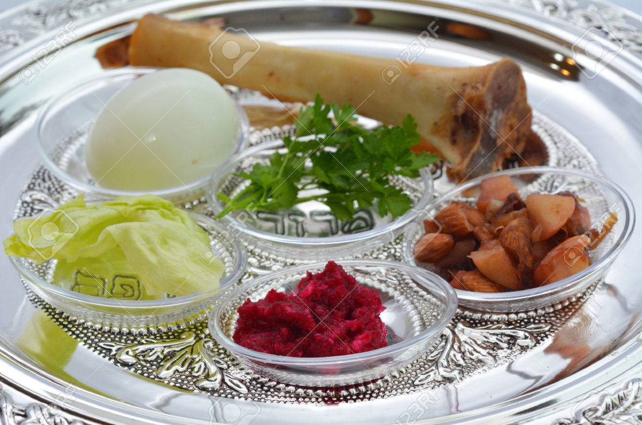 passover seder plate with the seventh symbolic item used during