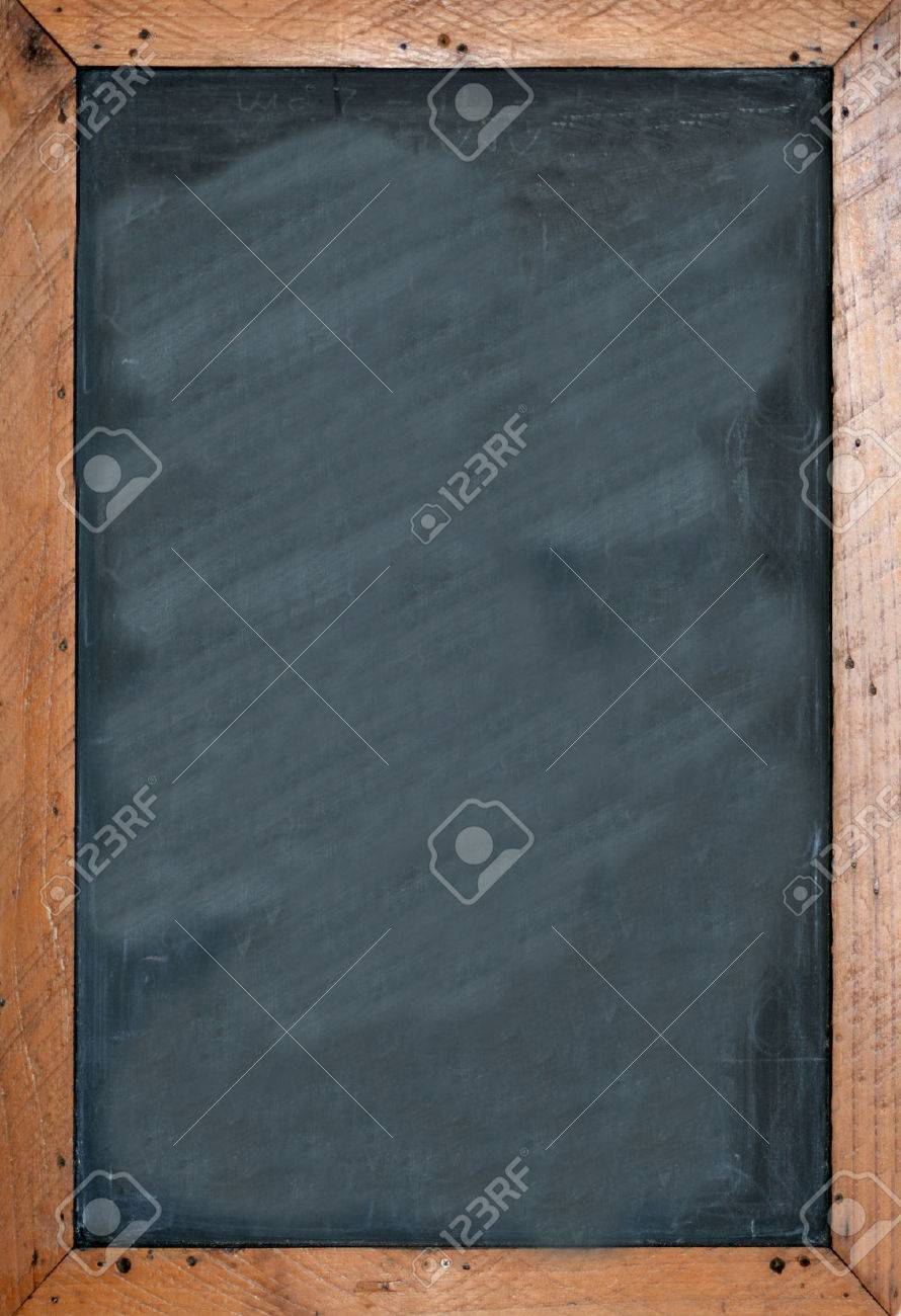 blank chalkboard with brown wooben frame empty space for insertion and to add text