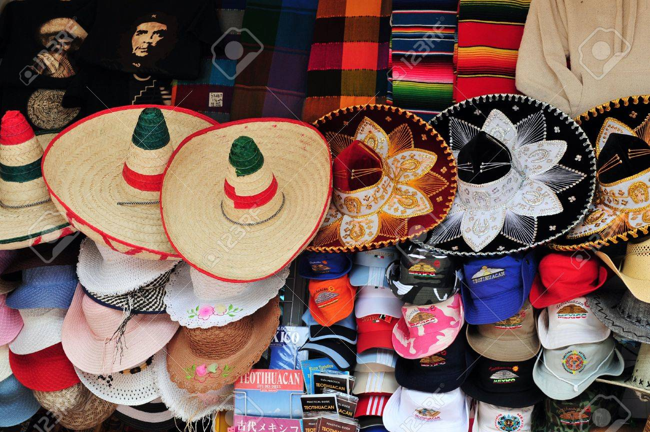 Sombreros and cowboy hat in mexican hat shop in Mexico . Stock Photo -  47614732 be6b2148748