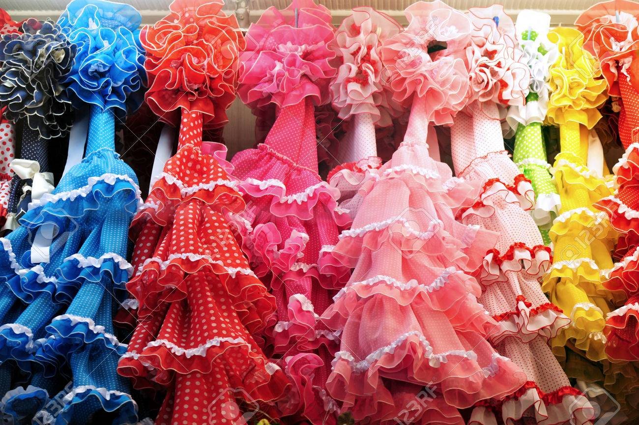Flamenco dress shop in Madrid Spain. - 47618274