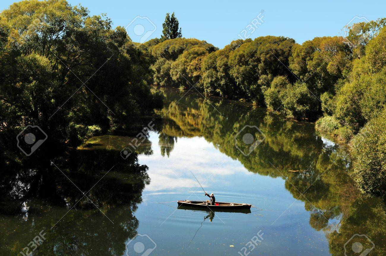 Fishing in the south island of New Zealand. - 47621485