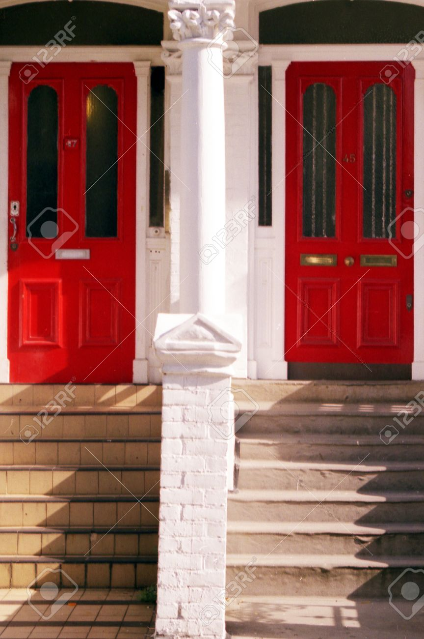 Stock Photo - Twin red house doors in London UK. & Twin Red House Doors In London UK. Stock Photo Picture And Royalty ...
