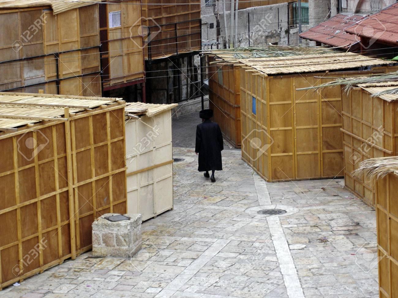 Sukkot in Meah Shearim neighborhood in Jerusalem, Israel. - 46902251