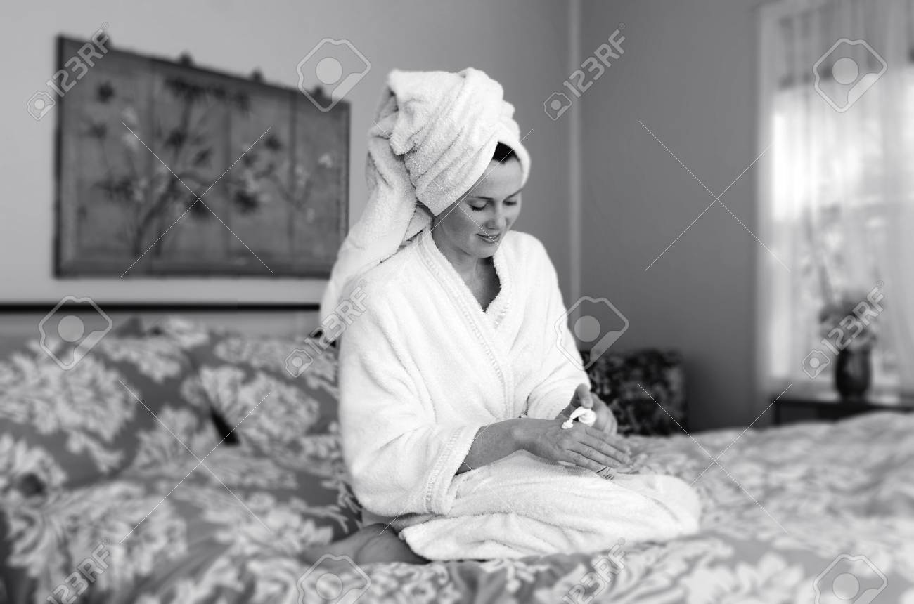 Magnificent Woman In A Dressing Gown 1957 Embellishment - Ball Gown ...