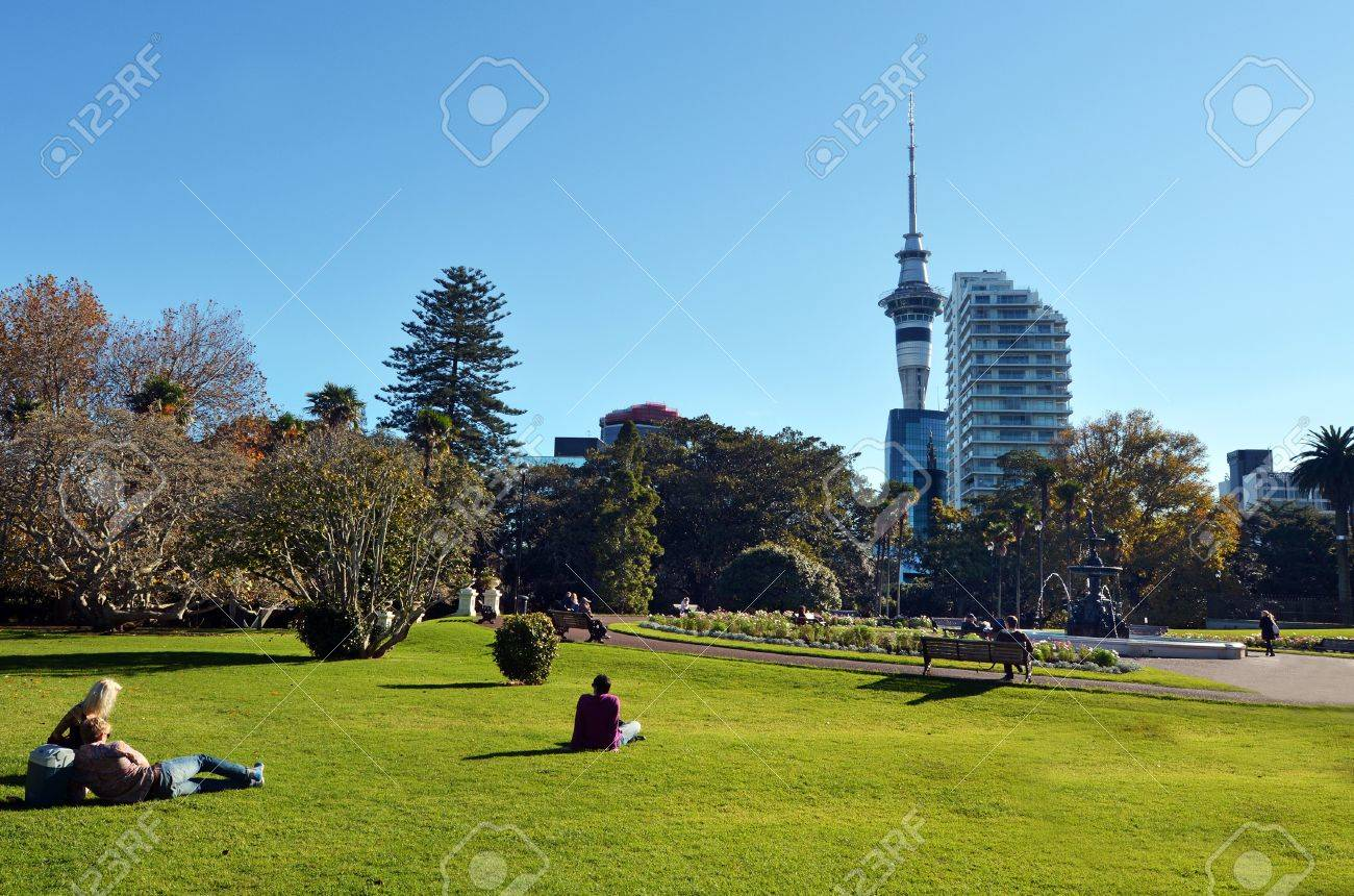AUCKLAND - MAY 31 2014:Visitors in Albert park.Albert Park is a famous scenic park in central Auckland, New Zealand. - 46307989