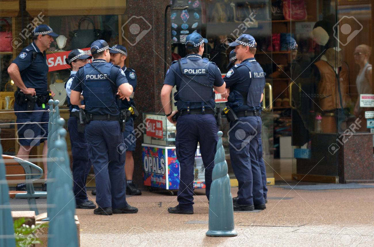 GOLD COAST, AUS - NOV 02 2014:Police officers patrols in Surfers Paradise. Gold Coast police on high terror alert warned to be hyper vigilant and patrol local mosques and critical infrastructure sites - 46257698