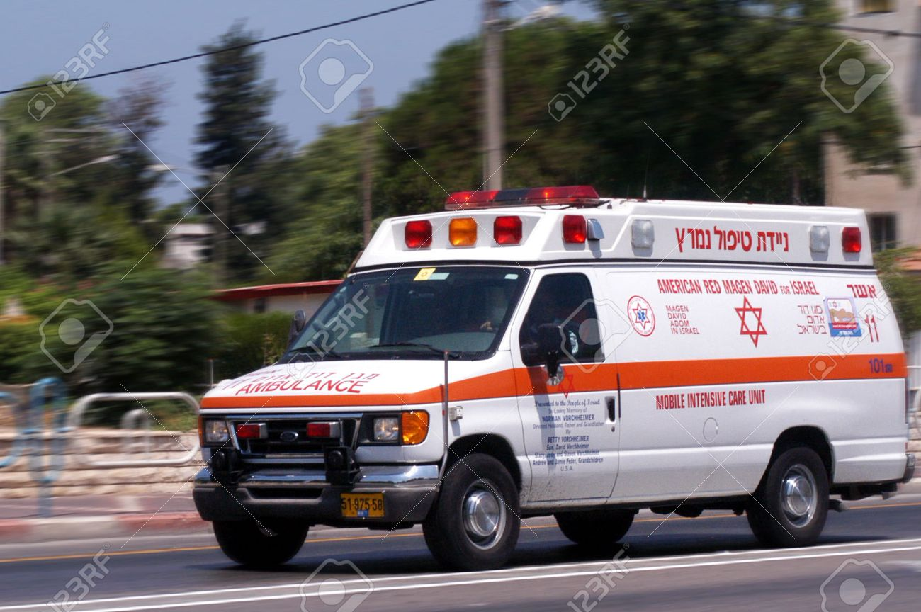 NAHARIYA, ISR - JULY 26:Israeli Magen David Adom ambulans on July 26 2006.Since June 2006, Magen David Adom has been officially recognized by the Red Cross ICRCas the national aid society of Israel. - 46309579