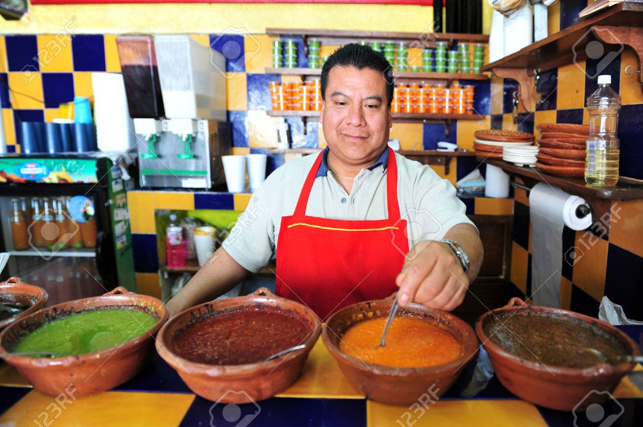 MEXICO CITY - FEB 27: Mexican estaurant chef wait for clients on February 27 2010 in Mexico City, Mexico.Authentic Mexican food is low in fat, while being high in minerals and vitamins. - 46257006