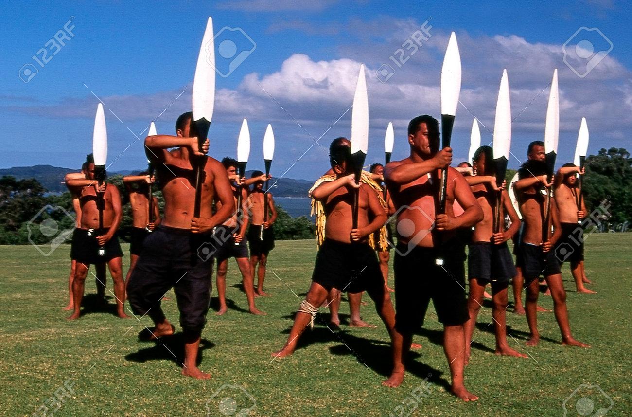 WAITANGI - FEB 6:Maori warriors perform Haka dance during Waitangi Day on February 6 2004 in Waitangi NZ.It's a New Zealand public holiday to celebrate the signing of the Treaty of Waitangi in 1840 - 46307897