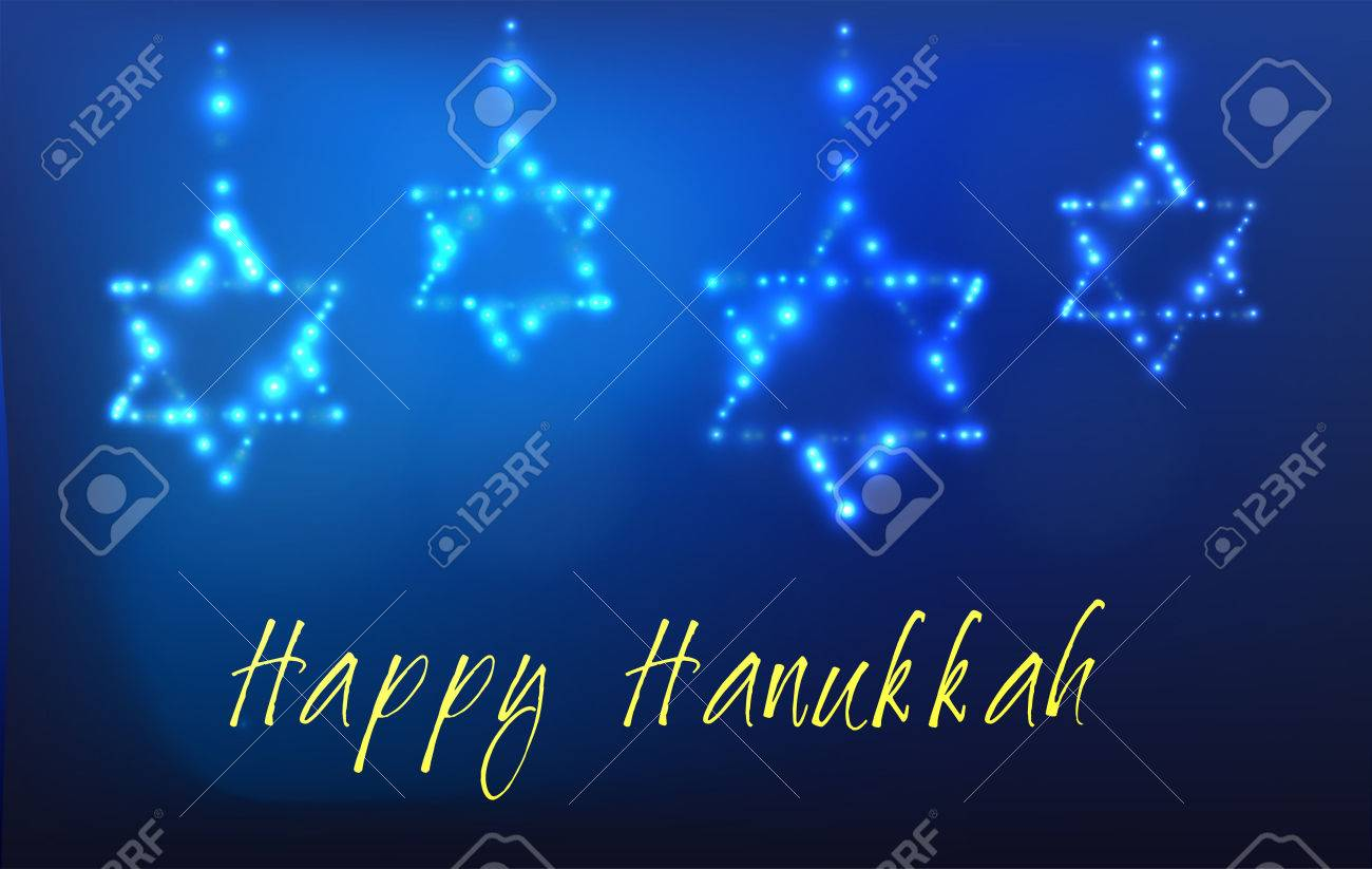Greeting card for the Jewish holiday of Hanukkah. Star of David shaped out of stars in the night sky for the Jewish holiday of Hanukkah written with the blessing - Happy Hanukkah - 47252745