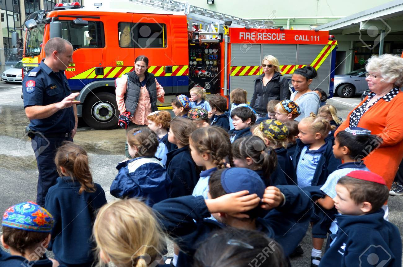 AUCKLAND - OCT 27 2015:Fire Safety Education day in Auckland City Fire Station, New Zealand.Each year over 20,000 fires are attended by New Zealand Fire Service, including nearly 5,000 house fires. - 47699096