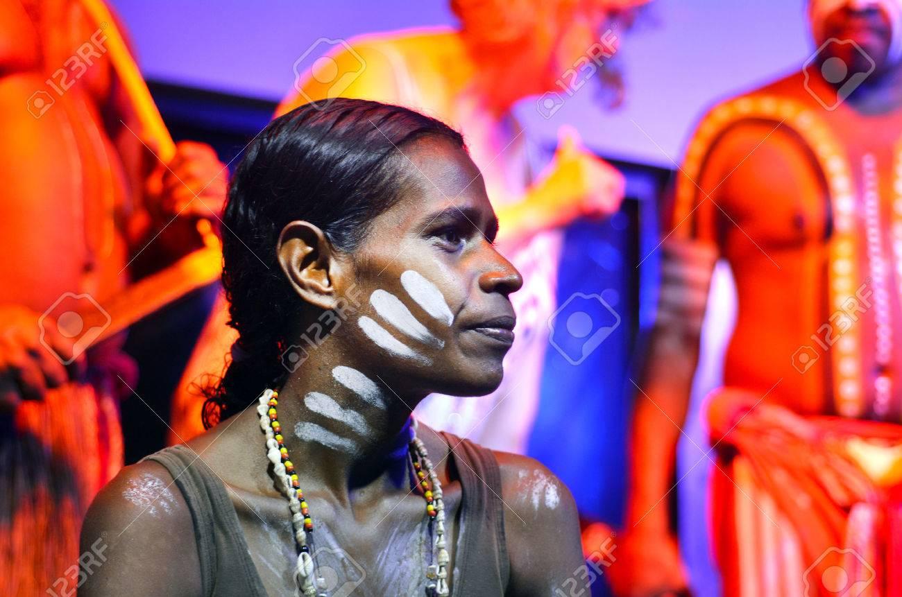 Yirrganydji Aboriginal woman and men during cultural show in Queensland, Australia. - 57326840
