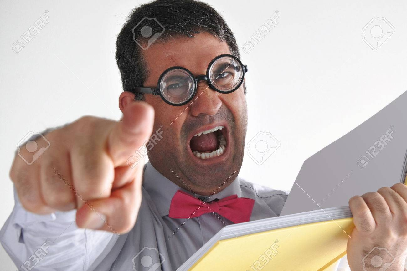 Frustrated Man Teacher Yells At Students In Class Looks At The.. Stock  Photo, Picture And Royalty Free Image. Image 62201374.
