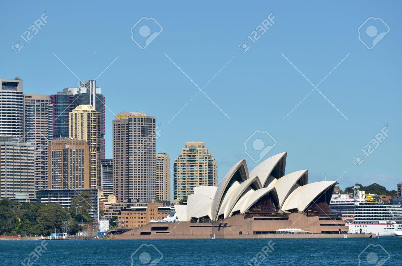 Vista Panoramica Del Horizonte De Sydney En Nueva Gales Del Sur Australia