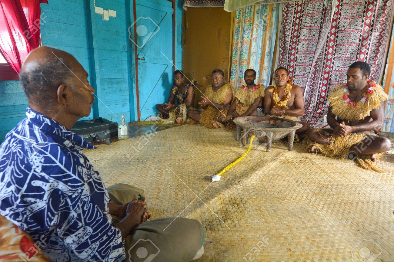 Traditional Kava Ceremony in Fiji. The consumption of the drink is a form of welcome and figures in important socio-political events. - 70105165