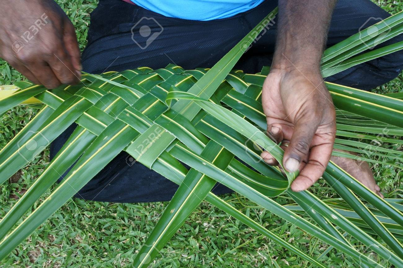 Fijian Men Create A Basket From Weaving A Coconut Palm Leaves Travel