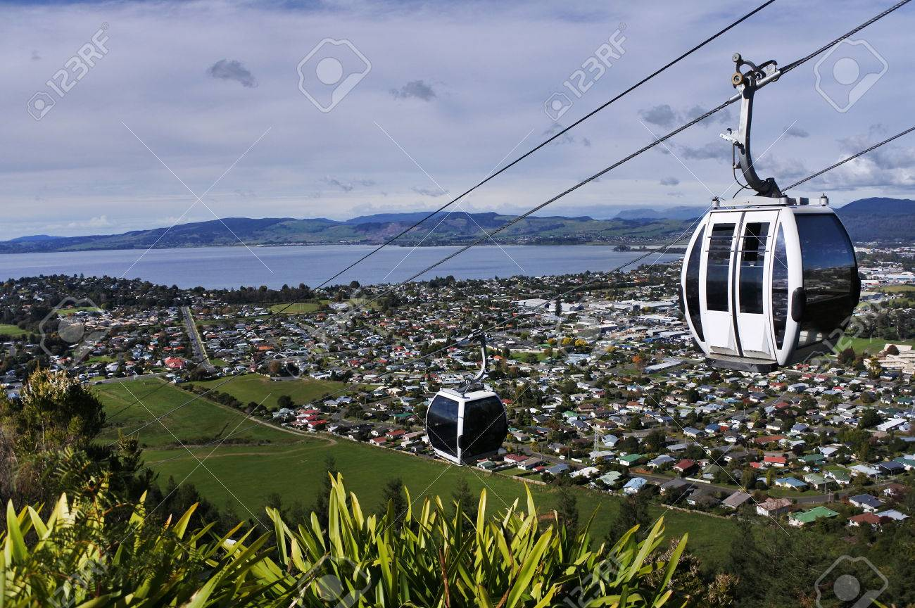 Riding cable car above Rotorua lake and city, in the centre of North Island of New Zealand - 78249002
