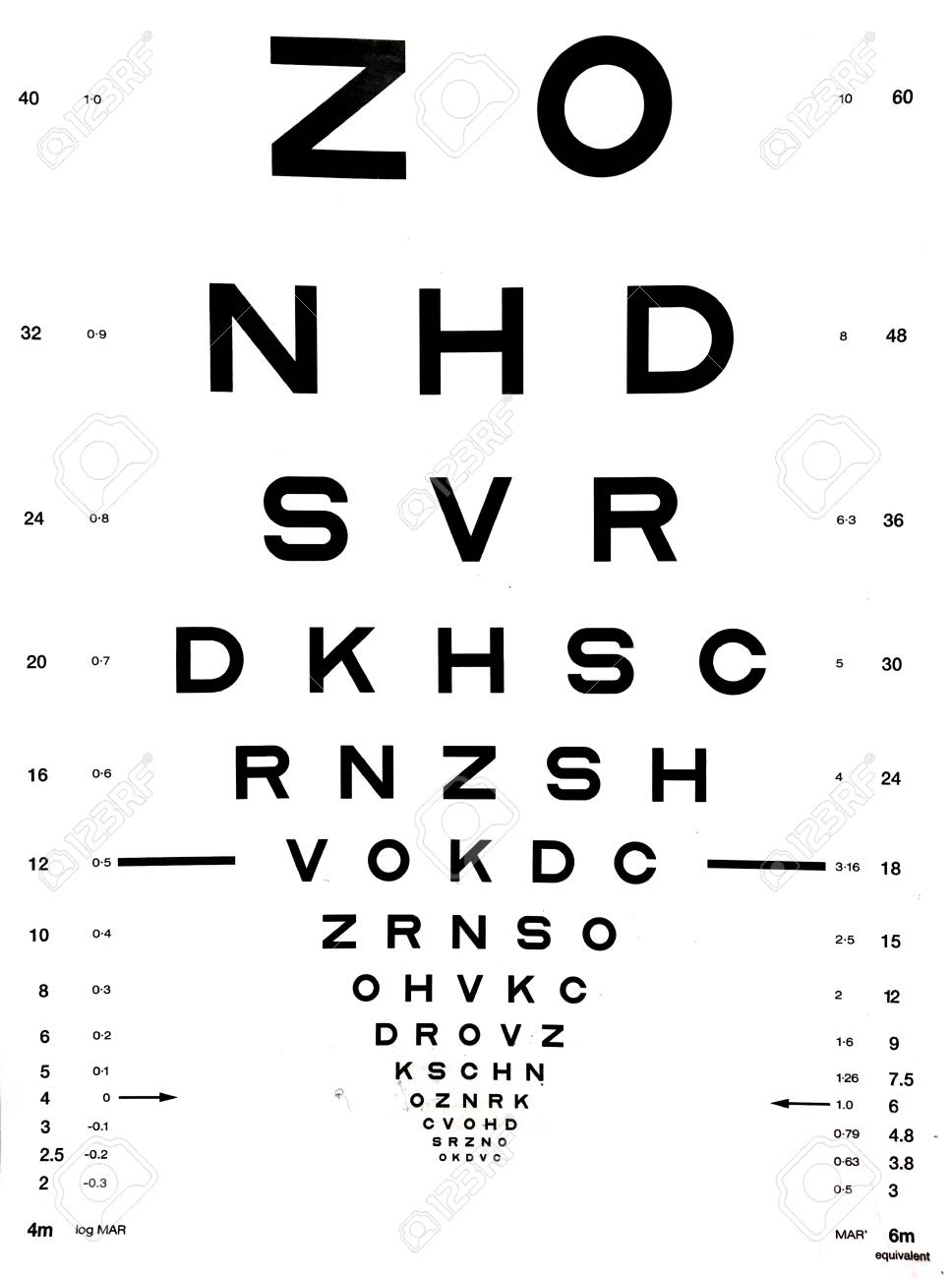 Snellen eye chart that can be used to measure visual acuity. Optometry background and eyes health care concept. - 90259479