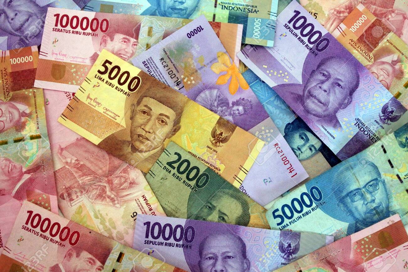 Indonesian rupiah currency of Indonesia bank notes background. - 130282967