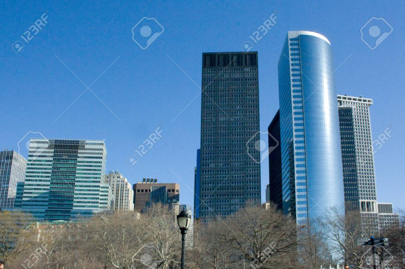 Picture Of The Office Buildings In New York City Manhattan Stock
