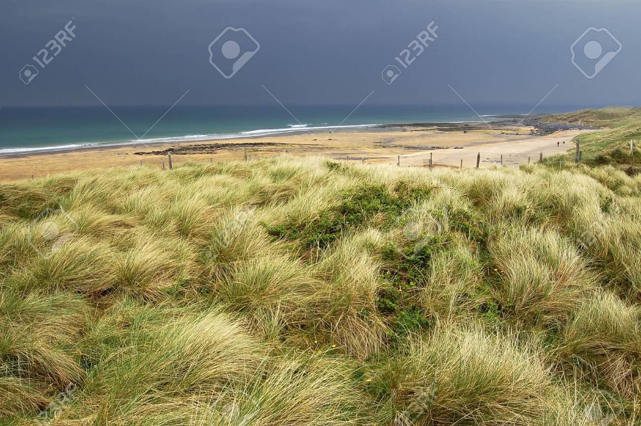 A view at the Atlantic beach with grass in a foreground. Black Head, County Clare, Ireland. Stock Photo - 6182935