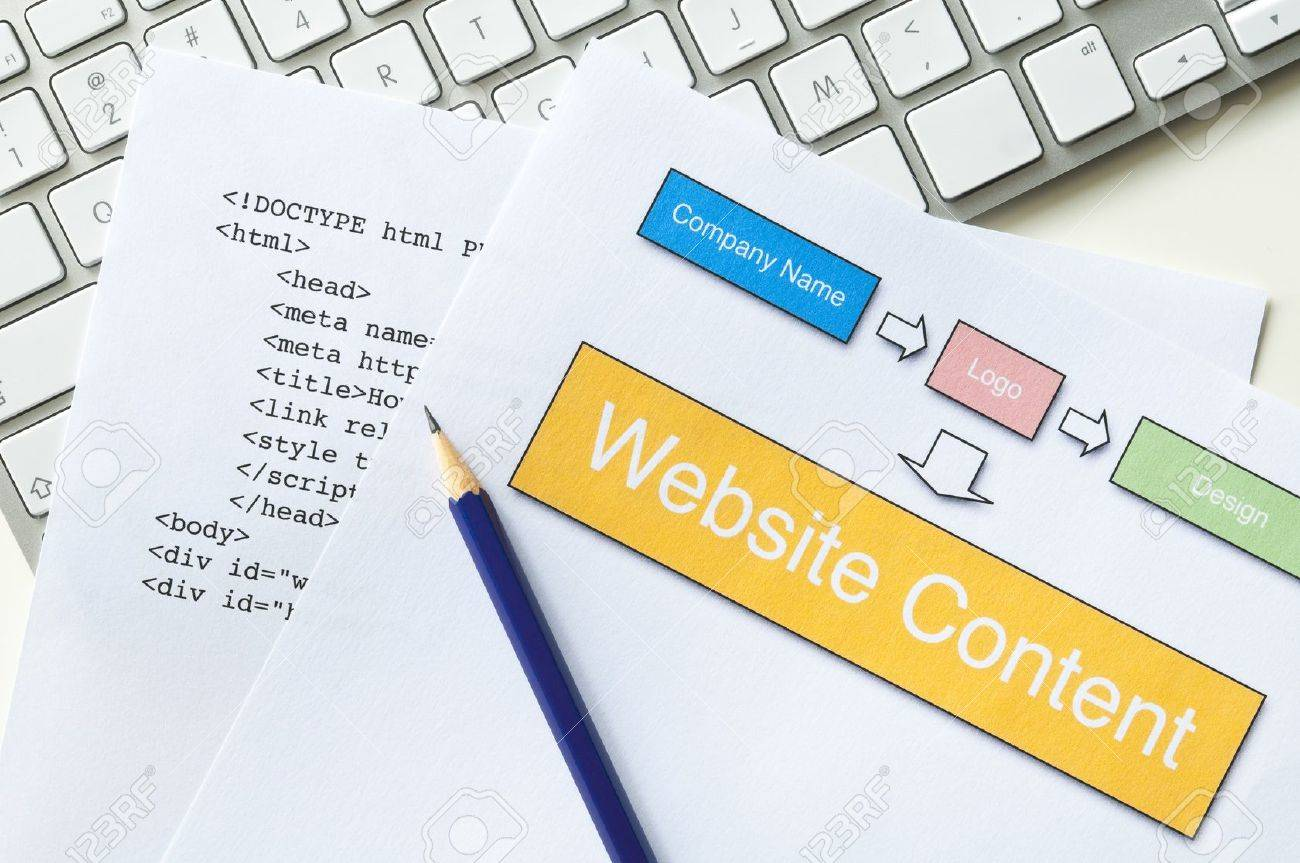 Web design project planning with diagram, HTML, pencil and keyboard Stock Photo - 14267774
