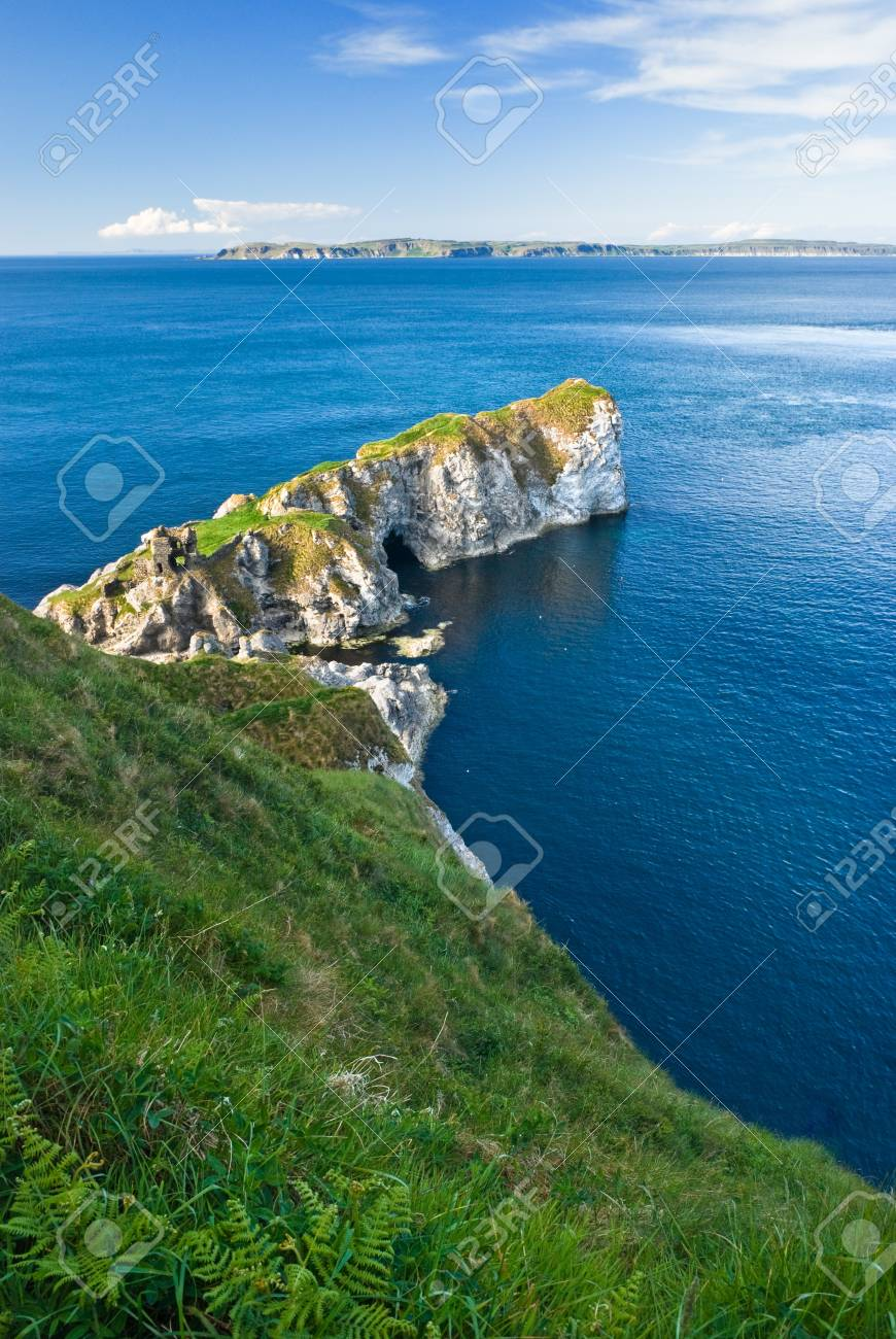 View over cliffs with castle ruins in Northern Ireland, Europe Stock Photo - 19356945