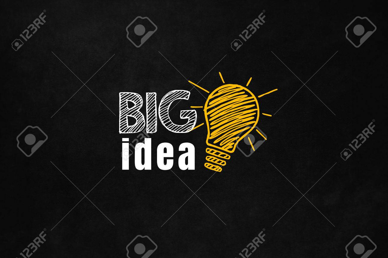 A big idea concept designed on a blackboard. Big idea help your career and solve your problems. A motivational slogan to increase your money. Stock Photo - 52028546