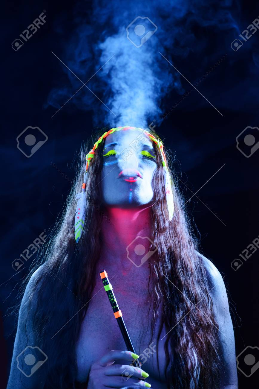 Neon Hippie Girl Smoking Hookah Stock Photo Picture And Royalty Free Image Image 96764128