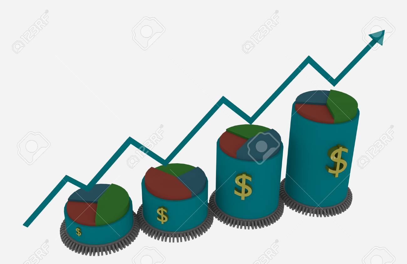3d Business growth bar and pie chart with driven gears Stock Photo - 26292393